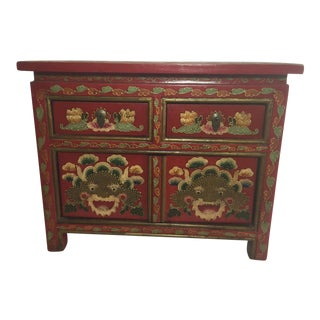 Hand Painted Red & Gold Chinese Cabinet