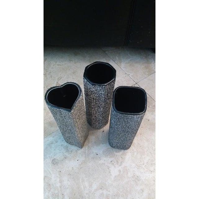 MCM Black & White Splatter Vases - Set of 3 - Image 2 of 4