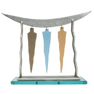 "Abstract ""Trinity"" Mixed-Media Art Glass Sculpture"
