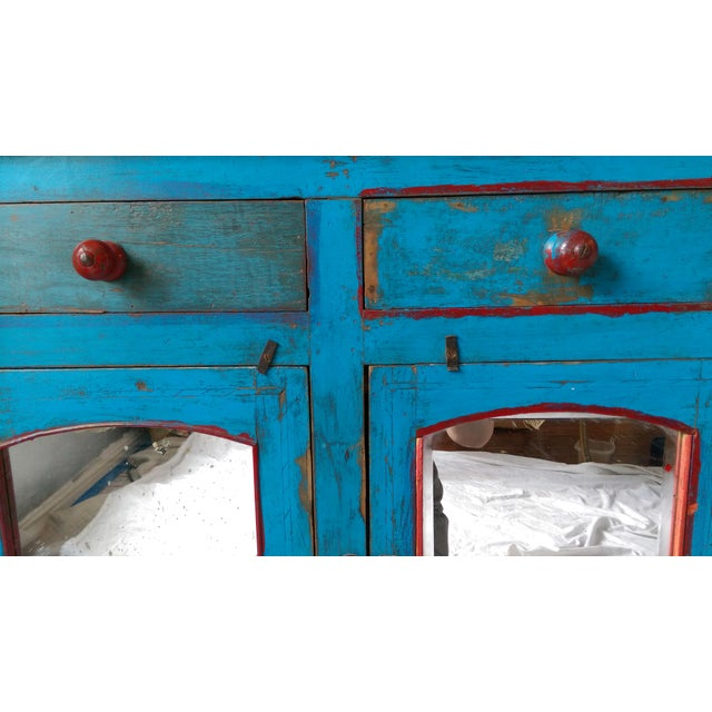 Reclaimed Wood & Antiqued Mirror Farm House Buffet - Image 9 of 11