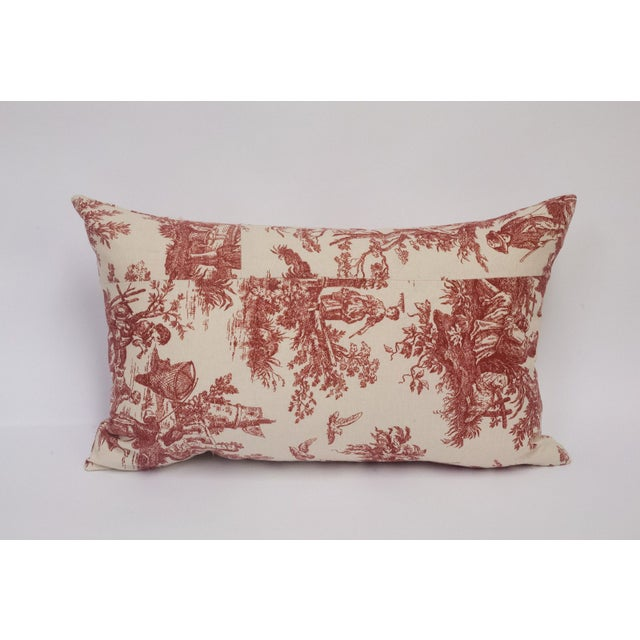 Deconstructed Red & Cream Toile Pillow - Image 3 of 5