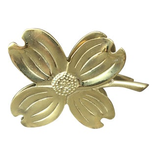 Vintage Dogwood Flower Four Leaf Clover Clip