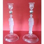 Image of Victorian Camphor Glass Candlesticks - Pair