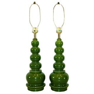 Vintage Quintuple Gourd Lamps - A Pair