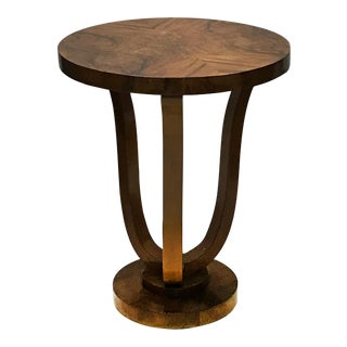 Vintage Round Burlwood Side Table