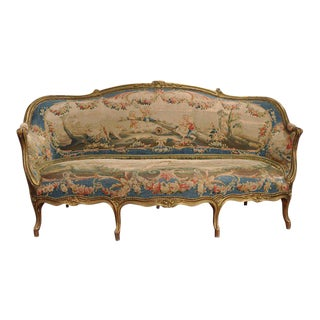 Louis XV Carved Gilt & Aubusson Tapestry Canapé