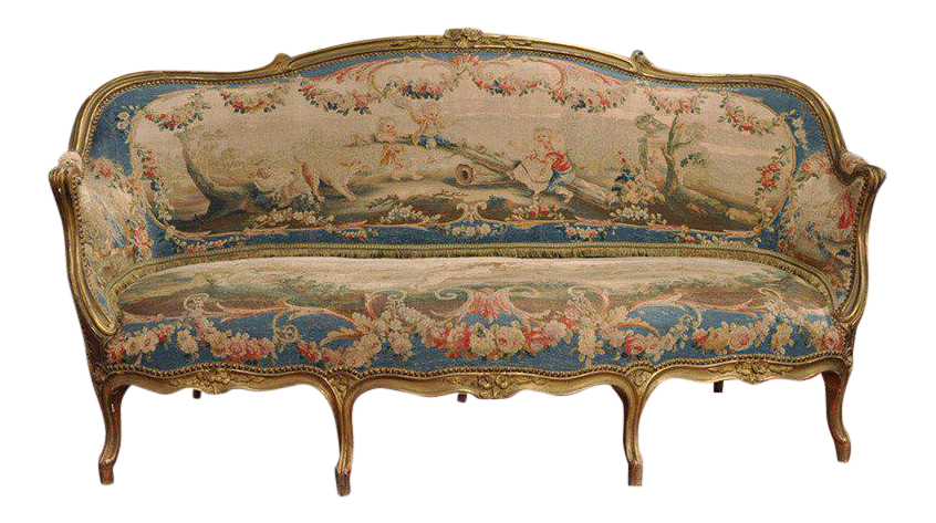 Louis XV Carved Gilt U0026 Aubusson Tapestry Canapé