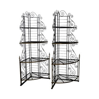 Vintage Pair of Quality French Country Black Iron & Brass Corner Bakers Racks