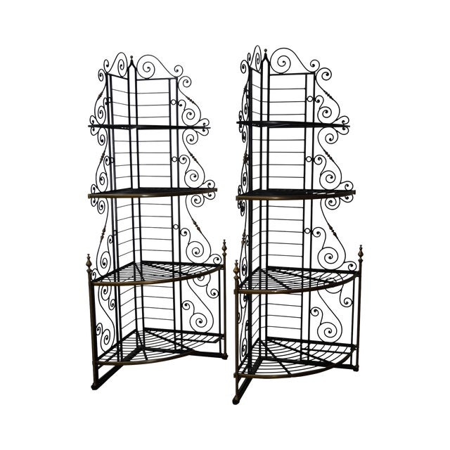 Vintage Pair of Quality French Country Black Iron & Brass
