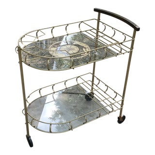 Mid-Century Brass & Glass Bar Cart