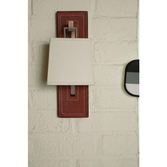 Paul Marra Leather Back Sconce with Tapered Linen Shade - Image 2 of 6