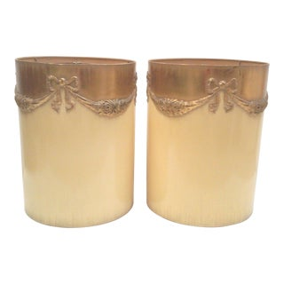 Regency Ivory Ormolu Roses & Bows Lamp Shades - a Pair