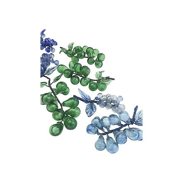 Blue & Green Blown Glass Grapes - Set of 9 - Image 5 of 6