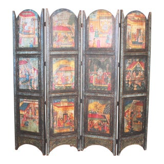 Antique Hand Painted Room Divider