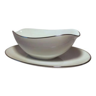 Noritake White Platinum Colony Gravy Boat With Attached Underplate