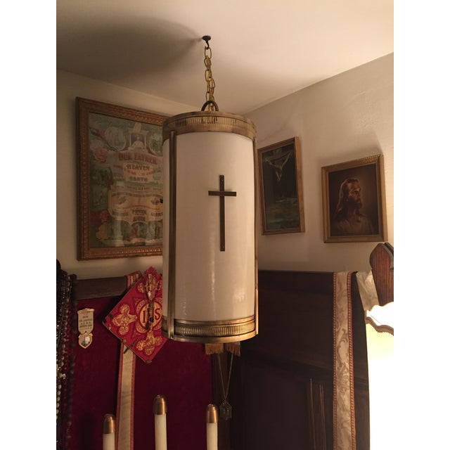 Mid-Century Fiberglass Shade Hanging Church Lights - A Pair - Image 2 of 7