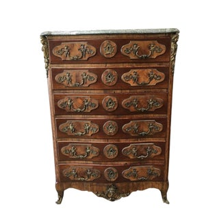 Antique Italian Marble Top Inlaid 6 Drawer Chest Dresser