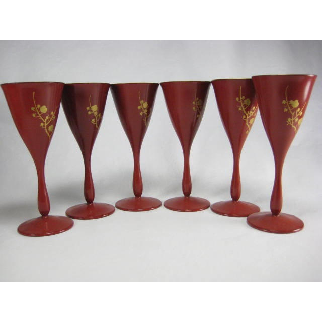 Red Lacquerware Martini Glasses - Set of 6 - Image 3 of 11