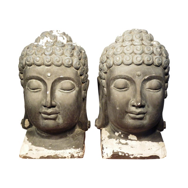 Large Matching Buddha Heads - A Pair - Image 1 of 6