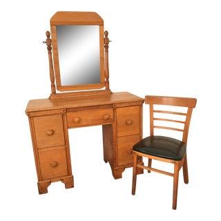 1950s Craftsman Style Mirror Vanity & Chair