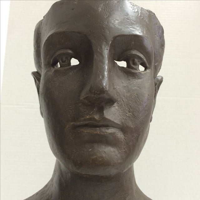 Modernist Male Bust Bronze Sculpture - Image 5 of 11
