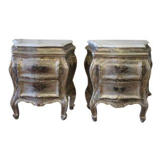 Silvered Marble Top Commode Side Tables - A Pair