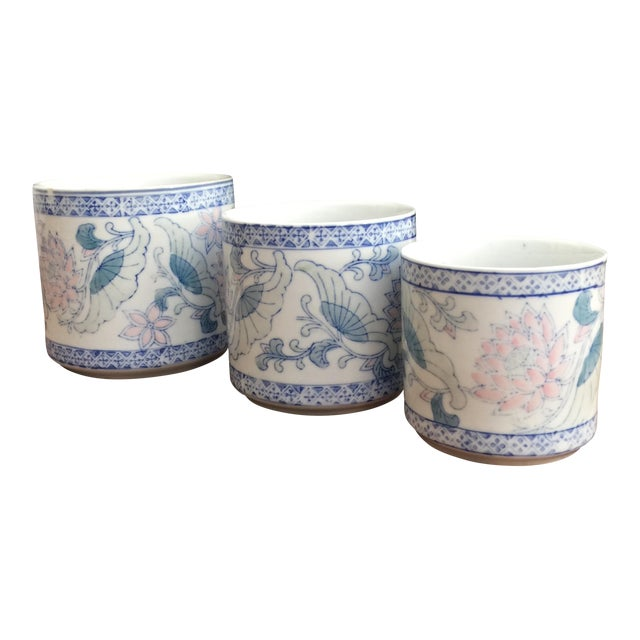 Antique Floral Pots - Set of 3 - Image 1 of 6