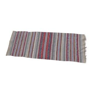 Swedish Hand Woven Rag Rug - 1′9″ × 4′8″