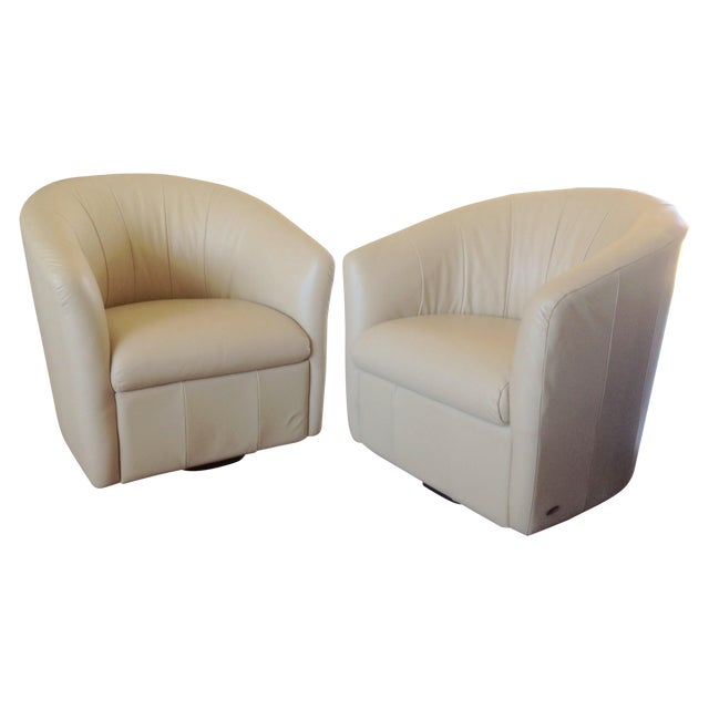 Natuzzi Beige Leather Swivel Chairs - A Pair - Image 1 of 11