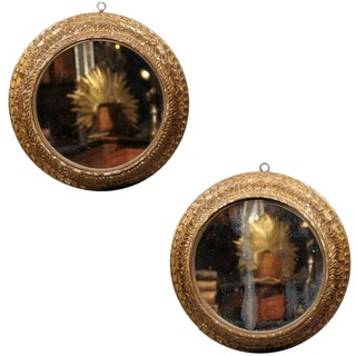 Pair of Mid 19th Century English Round Carved Giltwood Mirrors