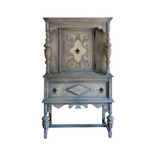 Antique Jacobean Hand Painted China Hutch