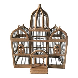 Victorian Wood & Wire Birdcage Sculpture