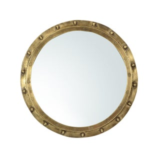 Industrial Brass Rivet Framed Port Hole Mirror