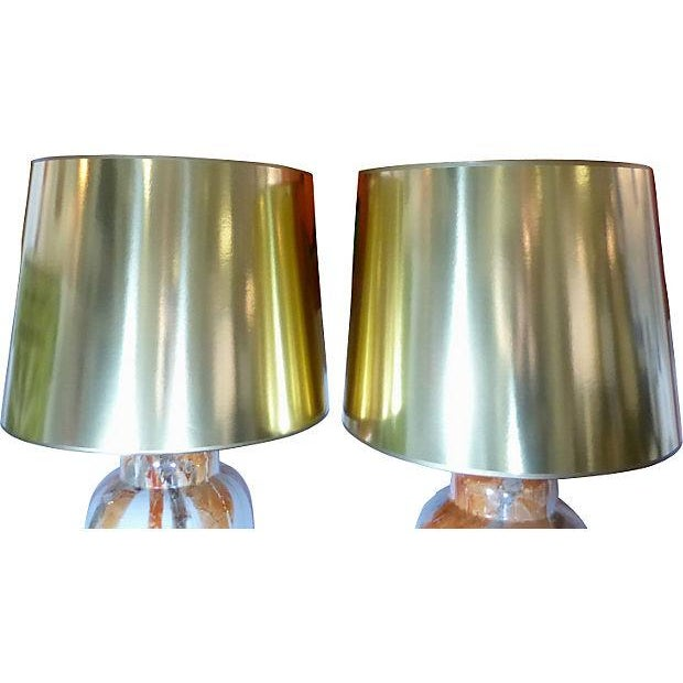 Ceramic Table Lamps With Custom Shades - Pair - Image 4 of 5