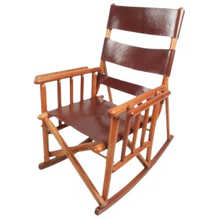 Mid-Century Modern Costa Rican Leather Campaign Folding Rocking Chair