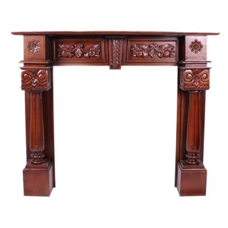 Hand Carved Mahogany Fire Place Mantel