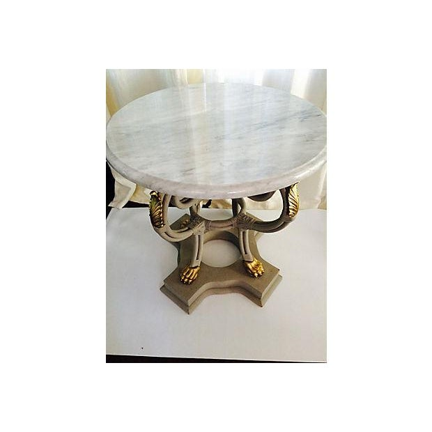 Round Foyer Table Marble Top : Round gray marble top foyer table chairish