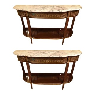 Jansen Style Marble-Top Bronze Mounted Consoles - a Pair
