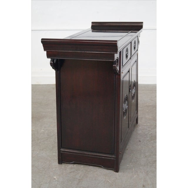 Chinese rosewood pagoda top cabinet console chairish for Asian console cabinet