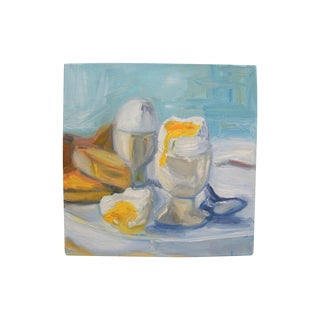 Abstract Breakfast Egg Cup Still Life Painting