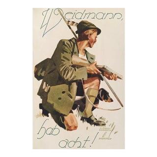 1927 German Art Deco Mini Poster, Weidmann Hunting