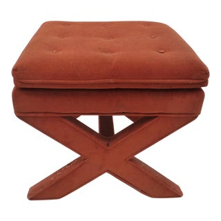 Mid Century Burnt Orange X-Base Footstool