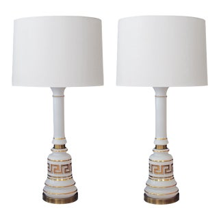 Stylish Pair of American Baluster-Form White Opaline Glass Lamps