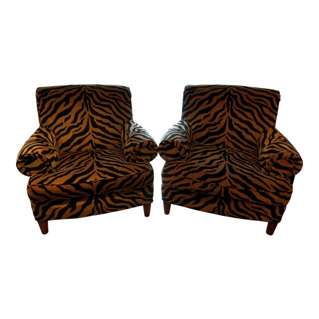 Tiger Print Chairs - Pair - Image 1 of 8