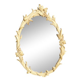 French Provincial Floral Oval Wall Mirror
