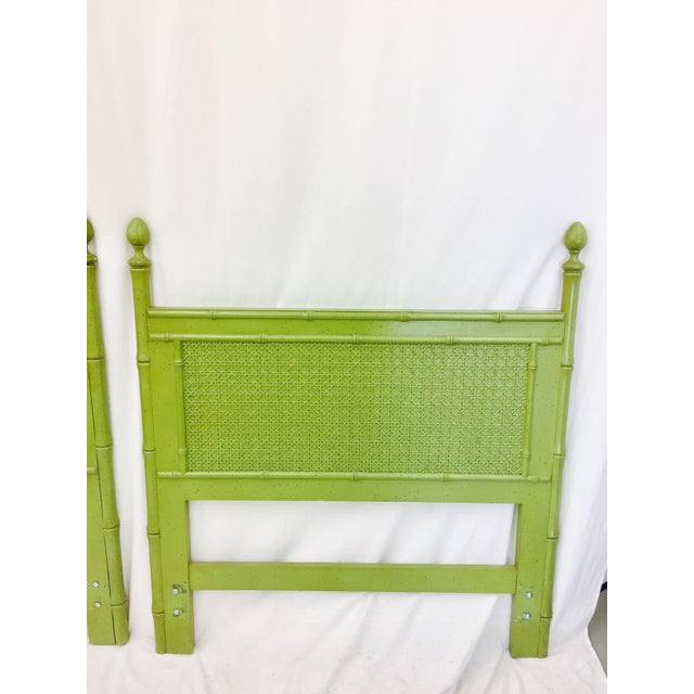 Vintage Green Faux Bamboo Twin Beds - a Pair - Image 3 of 9