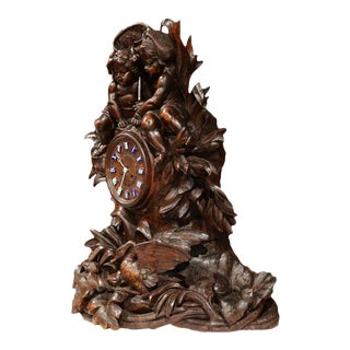 19th Century Swiss Carved Walnut Black Forest Mantel Clock