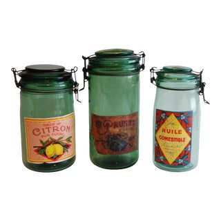 1930s Vintage French Labeled & Lidded Canning Preserve Jars - Set of 3