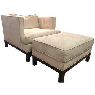 Crate & Barrel Club Chair & Ottoman