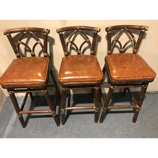 McGuire Leather Wrapped Rattan Bar Stools - Set of 3 - Image 3 of 11